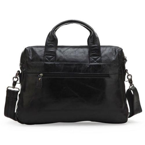 Everdoss Hommes sac à main en cuir sac de messager sac à bandoulière sac d'ordinateur sac d'affaires de business noir