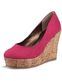 Zapatos con Tacones con cuñas para Mujeres Zapatos de Plataforma Zapatillas de Punta Redonda Bombas de