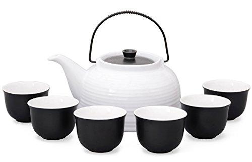 Tee-set/Tee-service Nelly groß aus hitzebeständiger Keramik, 1,5 liter Teekanne weiss/schwarz mit Stahl-sieb, und 6 Tee-cups schwarz/weiß, Original Aricola® China Tee-set Für Zwei