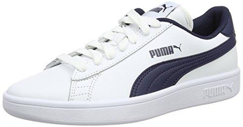 Puma Unisex-Kinder Smash v2 L Jr Sneaker, Blau White-Peacoat, 35.5 EU