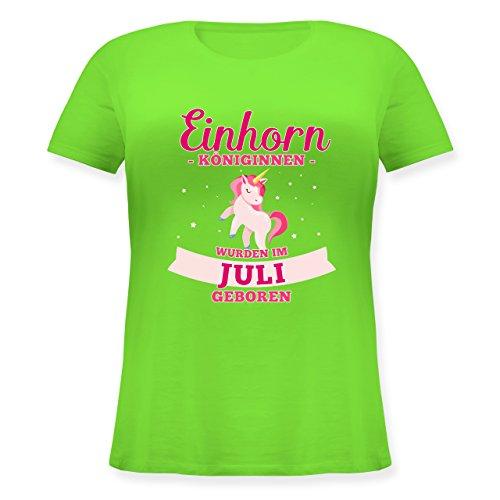 Shirtracer Geburtstag - Einhorn Königinnen Wurden IM Juli Geboren - Lockeres Damen-Shirt in Großen Größen mit Rundhalsausschnitt Hellgrün