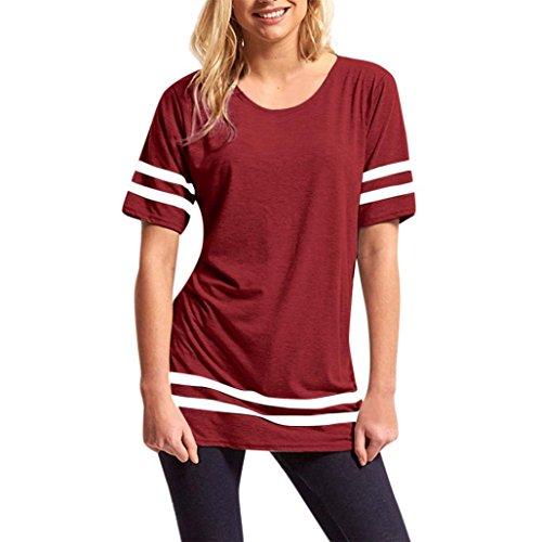 Maglie a manica,Yanhoo® Donna stripe larghe Top manica corta sport Pullover T shirt camicetta Pullover Vestito Casual Felpa Vestiti vino rosso