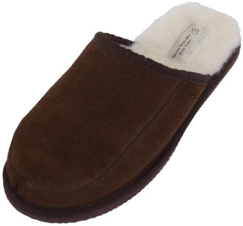 Bushga - Pantoufle mule chausson unisexe en daim avec doublure en pure laine et semelle rigide (Marron ou Camel) Marron