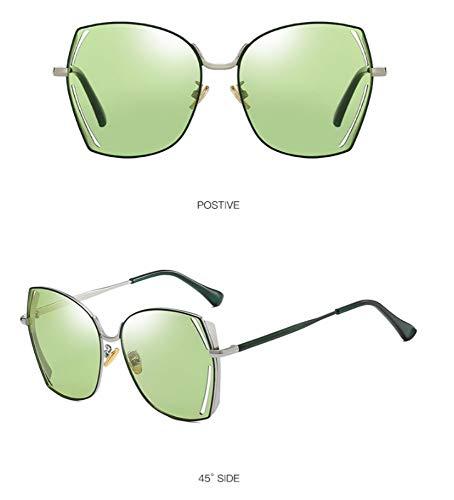 WSKPE Sonnenbrille,Polarisierte Sonnenbrillen Metall Großen Frame Square Fahren Gläser Licht,Grüne Linse