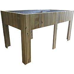 Grande Table de culture (potager urbain) en bois traité, 150x 80x 80cm