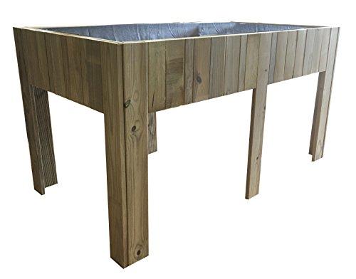 Mesa cultivo grande Huerto urbano madera tratada 150x80x80