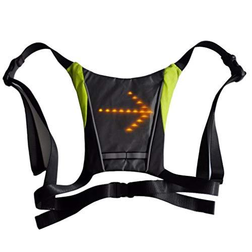 Plzlm Radfahren Fahrrad Weste LED Wireless Safety Blinkerleuchte Vest Riding Nacht Warnung Rucksack Guiding Light