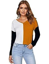 JUNEBERRY 100% Cotton Multicolored V-Neck T-Shirt for Women/Girls