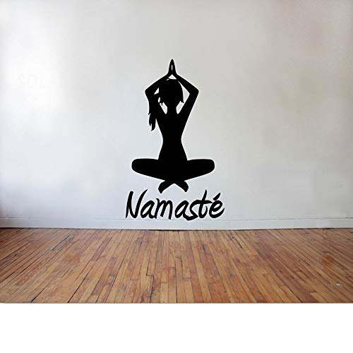 zqyjhkou Indische Yoga Namaste Wandtattoo Mädchen Buddha Vinyl Wandaufkleber Interior Home Decor Abnehmbare Kunstwand Büro Fenster Decor Sy43 57x32 cm (Ford Mädchen Kleidung)