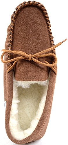 Snugrugs Herren Wool Lined Suede-Rubber Sole Mokassin Braun (Light Brown)