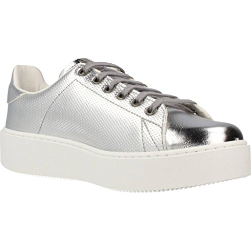 Sneakers donna Victoria, art. 1260112PLATA, tomaia argento metallic in pelle, fondo platform bianco. Silver