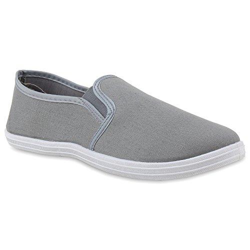 Bequeme Herren Slip-ons Flache Freizeit Slipper Flats Schuhe Grau Grau