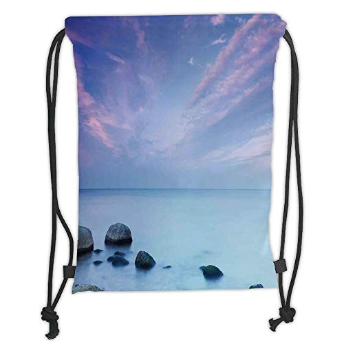 LULUZXOA Gym Bag Printed Drawstring Sack Backpacks Bags,Seaside Decor,Baltic Sea Coast Autumn Sunset Evening View Boulders on Water Tourism Picture, Soft Satin,The Sty