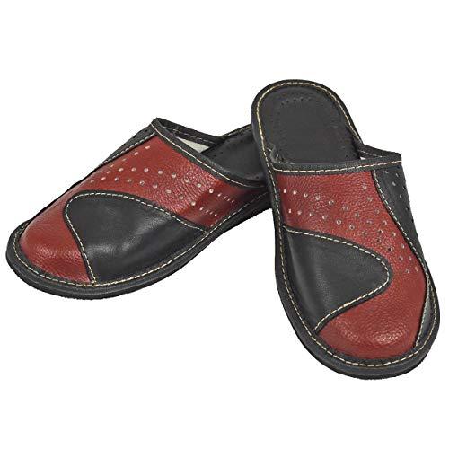 DF-SOFT Herren Herrenpantoffel Pantoffel Hausschuhe Haus Schuhe Leder Pantoffel Lederpantoffel Pantoletten Schlappen Modell 139 (43 EU)