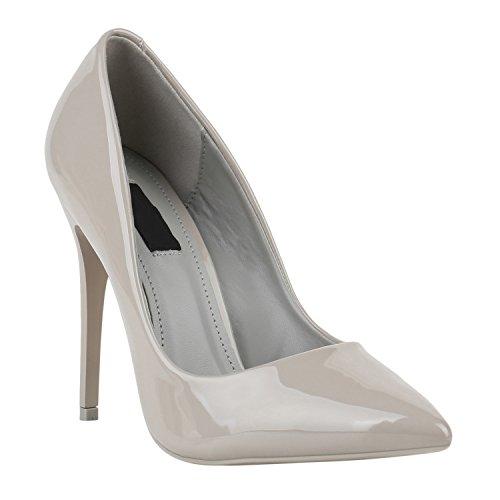 Elegante Damen High Heels Spitze Pumps Lack Metallic Schuhe Stiletto Samt Glitzer Nieten Abendschuhe Business Schuhe Flandell Grau Lack
