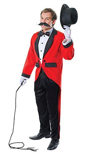 3 Zirkusdirektor Kostüm, Rot, schwarz, 44-Inch ()