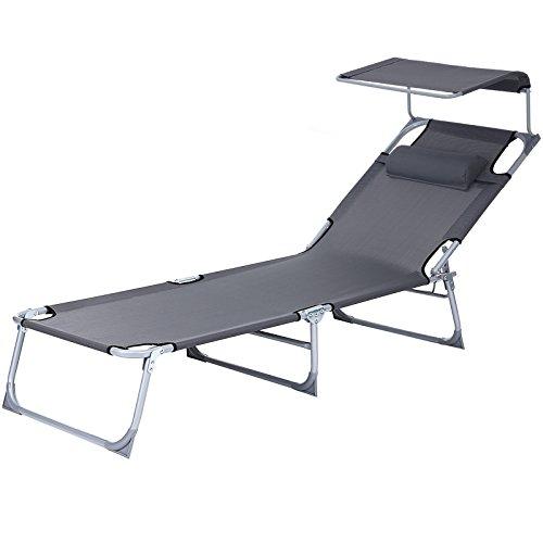 SONGMICS Tumbona reclinable Silla para Playa Piscina jardín Plegable 193 x 62 x 30 cm Carga máx. de 250 kg GCB19U