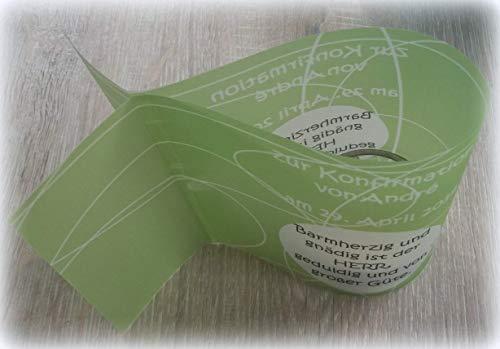 5x Tischlichter Windlichter zur Kommunion Konfirmation Taufe Firmung Hochzeit Geburtstag individualisierbar mit Spruch Fisch grün