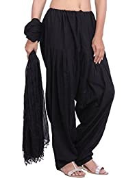 JAIPUR FASHION HUB Women's/Girl's 100% Pure Cotton Semi Patiyala salwar Pant With Dupatta Set (Free Size____Black)