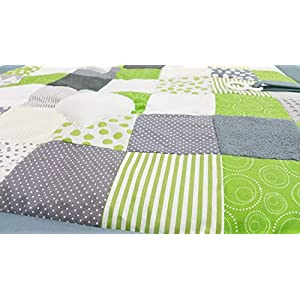 Atelier MiaMia Babydecke, Kuscheldecke, Erlebnisdecke,Spieldecke grau - Grün