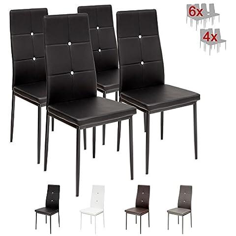 Albatros 3094 Diamond Lot de 4 chaises, noir, SGS tested