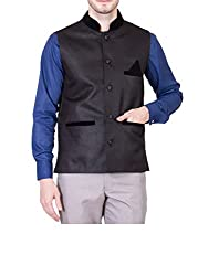 Akaas Mens Jute Nehru Jacket (ANJ121-L_Black_42)