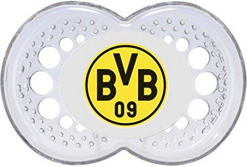 Neues Design!!! Mam Baby SILIKON Schnuller BVB 09 Borussia Dortmund 0-6 und 6-16 Monate Schnullerschild in transparent