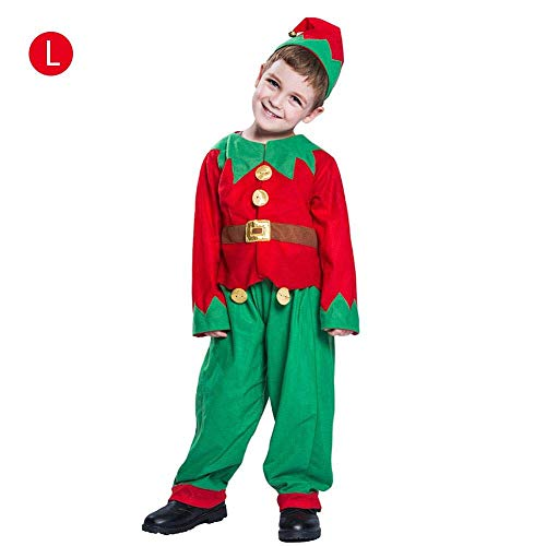 H-ONG Children''s Christmas Elf Costume Child''s Christmas Festive Fancy Dressing Up Outfit Hat + Top + Pants 3pcs Set for Christmas Elf Fancy Dress Holiday Show Costume Ages 4-14 Years Boy (L)