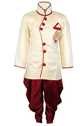 JBN Creation Boys Cotton Silk Sherwani Suit With Patiala Style Cowl Dhoti...