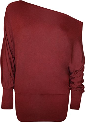 Damen Batwing Baggy Top Jumper Jersey Viel Long Sleeve Off Schulter Top Wein