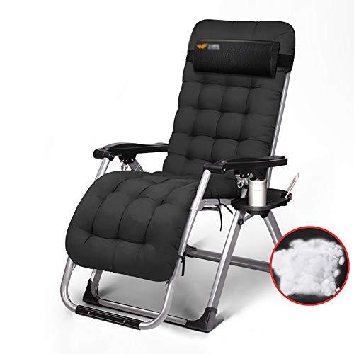Liegestuhl Zero Gravity-Liegestühle mit Dicker Auflage - Sonnenliege Im Freien für Büro, Strand, Garten Oder Rasen, Unterstützung 150kg Deckchairs (Farbe : Schwarz)