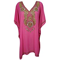 Mogul Interior Women Short Caftan Dress Pink Chiffon Gold Sequin Boho Kaftan One Size