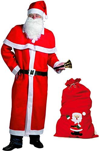 Idena-8580108-Weihnachtsmann-Kostm-5-teilig-rot-mit-Filzsack-Glocke