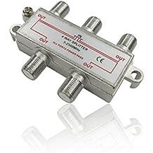 Divisor de cable coaxial de 4 vías, conector F hembra para cables satelitales, de televisión, digitales de Virgin Media de CDL Micro