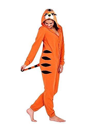 Continental Damen Jumpsuit Overall Tiere Gesichter Öhrchen 3D Kapuze Tiger 79574TGR (Tiger Gesicht Kostüm)