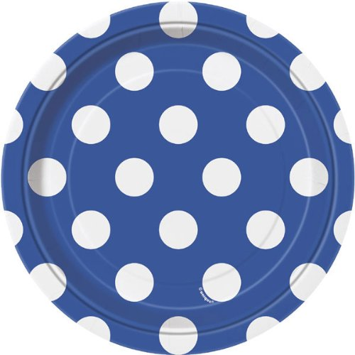 Royal Blue Dots Dessert Plate