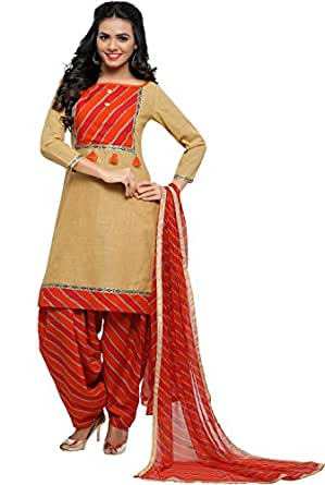 EthnicJunction Women's Cotton Patiala Style Unstitched Dress Material (EJ1180-88010_Light French Beige)