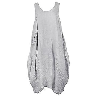 Love My Fashions® Womens Midi Dress Ladies Italian Lagenlook Loose Baggy Linen Scoop Neck Bow Pocket Sleeveless Causal Outwear Plus Size Light Grey