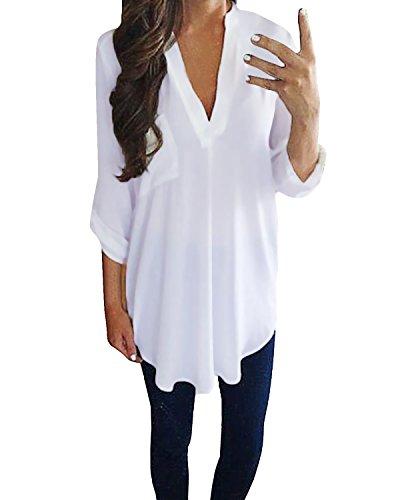 Styledome donna camicia blusa maglia mezza manica corta spiaggia estate v-collo tops sexy ufficio bianco it 40-42