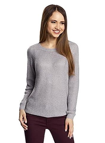 oodji Ultra Damen Pullover mit Bindebändern am Rücken, Grau, DE 36 / EU 38 / S