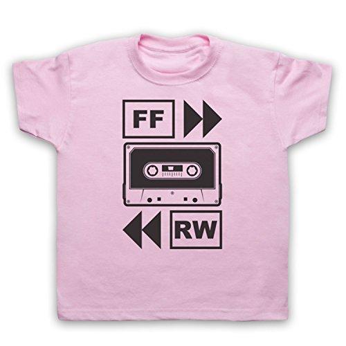 My Icon Art & Clothing Fast Forward Tape Cassette Camiseta para Niños, Rosa Claro, 1-2 Años