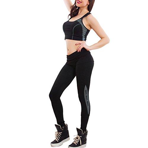 Toocool - Tuta donna sport completo top canotta vogatore pantaloni fitness nuova SL9085 Nero/Grigio