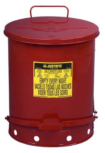 Justrite 09500verzinktem Stahl fettige Abfall kann die Sicherheit mit Fuß Hebel, 52l Kapazität, 16–1/40,6cm OD X 20–1/10,2cm H, rot