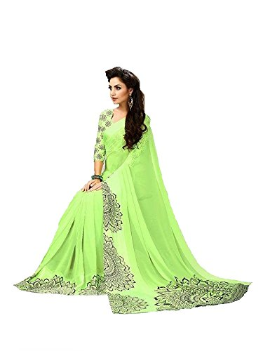 SilverStar Women's Georgette Green Color Saree With Sartin Print Border New Arrival...