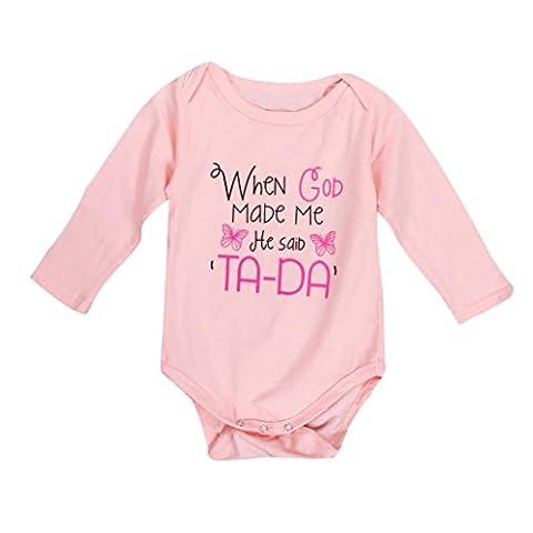 Saingace Bébés Filles Lettres Impression Bodysuit Barboteuse Jumpsuit Tenues Vêtements, 0-2ans (18M(18-24mois))