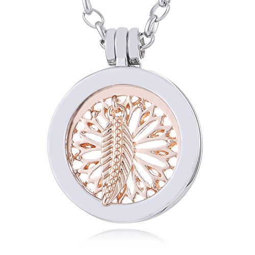 Morella Damen SMALL Coin 23 mm Halskette Edelstahl 70 cm Traumfänger mit Feder rosegold mit Schmuckbeutel
