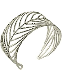 SILBERMOOS Exklusiver Damen Armreif Armspange im Natur-Design filigran Blatt Feder massiv 925 Sterling Silber