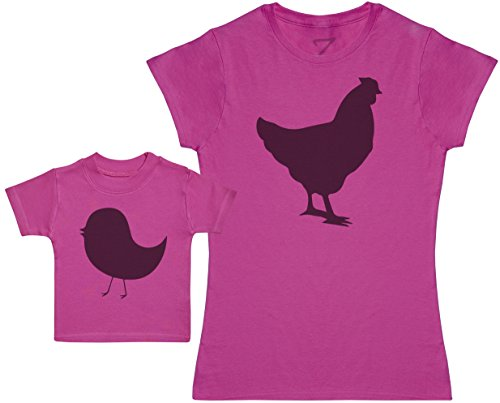 Zarlivia Clothing Mother Hen and Chick - Ensemble Mère Bébé Cadeau - Femme T Shirt & bébé T-Shirt - Rose - XL & 3-6 Mois