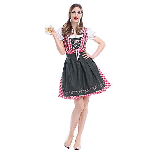 Nankod Kleid Womens A-Linie Maid Plaid Fancy Vintage -