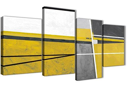 Wallfillers Große Senf Gelb Grau Gemälde abstrakt Wohnzimmer Leinwandbild Wall Art Decor–4388–130cm Set von Prints (Senf Fertig)